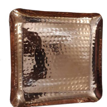 """Copper Hammered Square Serving Tray 8X8"""" Hotel Home Decor Bar Tray Elegant New"""