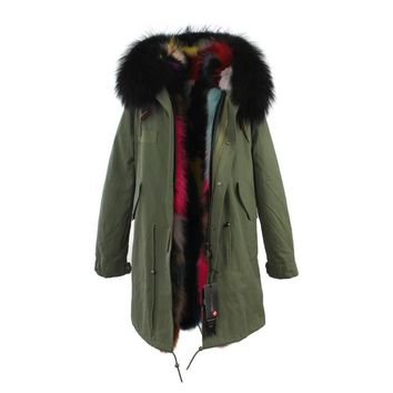 Parka Outwear With Real Raccoon Fur Trim Hood Plus Size