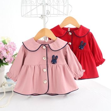 2017 New Arrival Baby Jacket Spring Peter Pan Collar Single Breasted Coat Rabbit Character Pattern Baby Coat Girls For 3M-2Y