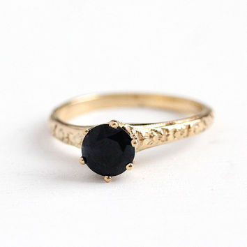 Sapphire Engagement Ring - Vintage 14k Yellow Gold Genuine 1.20 Carat Dark Blue Gemstone - Size 6 3/4 Fine Alternative Flower Bridal Jewelry