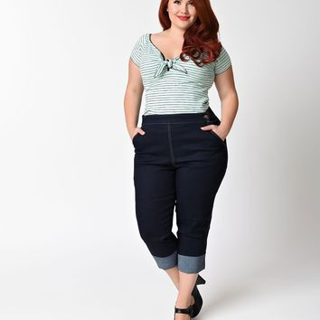 Hell Bunny Plus Size 1950s Denim High Waist Ronnie Capri Pants