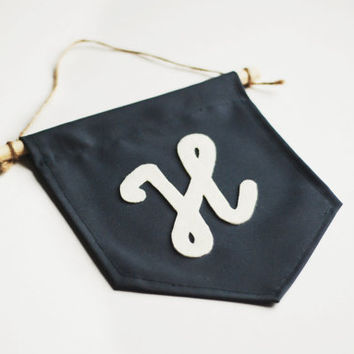 Wall Cotton Banner with the Felt Monogram, Birthday Gift, Personalized Minimalist Hanger