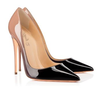 Gradient Low Cut Pointed Toe Super High Stiletto High Heels Prom Dress Shoes