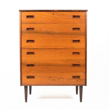 Danish Mid Century Modern Six Drawer Rosewood Highboy Dresser