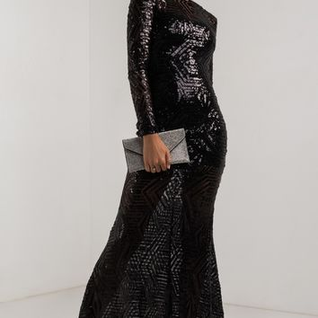 AKIRA Long Sleeve Illusion Neckline Backless Sequin Maxi Dress in Black