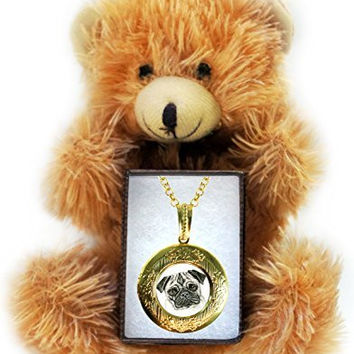 Pug Dog Art Gold Locket Necklace & Bear Gift Set
