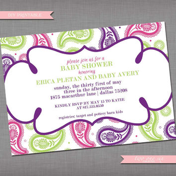 Colorful Paisley Baby Shower Invitation - Printable Custom Baby Shower Invitation