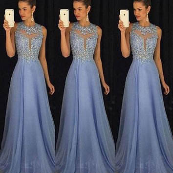 Women Formal Long Lace Dress Prom Party Wedding Gown Sequins Sleeveless Tulle Long Dress