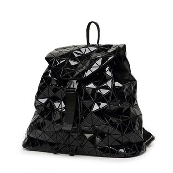 School Backpack Women Backpack Diamond Lattice Geometry Quilted School Bag Backpacks For Teenage Girl Luminous School Bags Holographic Mochila AT_48_3