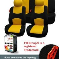 FH-FB050112 Flat Cloth Car Seat Covers Yellow / Black Color