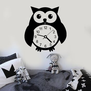 Wall Stickers Vinyl Decal Funny Owl Bird Clock Great Decor for Kids Room Unique Gift (ig694)