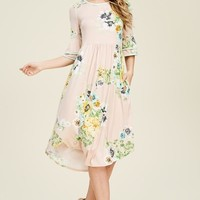 double layer bell sleeve high waist floral dress- Ivory