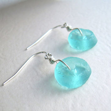 Aqua Blue Recycled Glass Jewelry, Eco Friendly Earrings