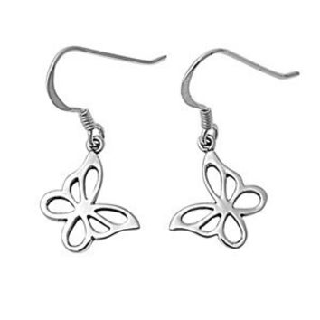 Sterling Silver Butterfly Stenciled Cut Out Dangle Earrings