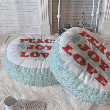 Heather Dutton Peace Joy Love Woodcut Floor Pillow Round