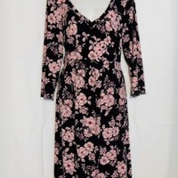 Motherhood Maternity Dress Size Large Black Pink Floral