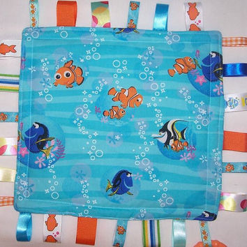 Finding Nemo Bubbles Aqua Minky Lovey Ribbon Tabs Taggy Security Blankie Blanket Rare and Out of Print