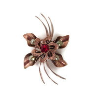 Coppertone Brooch, Large Flower Pin, Faux Pearl Red Rhinestone Mid Century Costume Jewelry, Vintage Gift Idea for Her