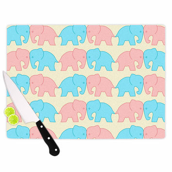 "NL Designs ""Pastel Elephants On Parade"" Pastel Animals Cutting Board"