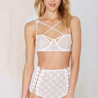 For Love and Lemons Wanted and Wild Lace Panty - White