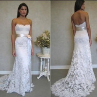 Vntage lace Wedding Dress, Strapless Bridal Gown,  Lace Wedding dress,Wedding Gowns,,Custom Size and Color
