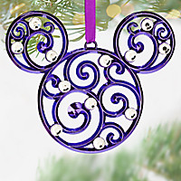 Mickey Mouse Icon Filigree Ornament - Purple