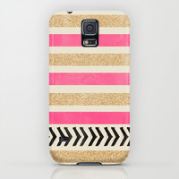 PINK AND GOLD STRIPES AND ARROWS Galaxy S5 Case by Allyson Johnson