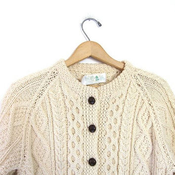 Chunky Wool Knit Cardigan Sweater Fisherman's Sweater Natural Cream Button Up Cable Knit Pockets Oversized Handwoven Donegal Sweater Medium