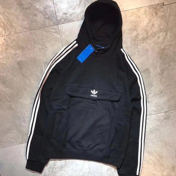 Adidas Fashion Casual Long Sleeve Stripe Hoodie Pullover Sweater For Women Men 1