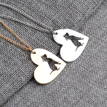 2016 Hot PitBull Necklace Cute Dog Pit Bull Heart Pendant Memorial Pet Necklaces Women Animal Charms Gift