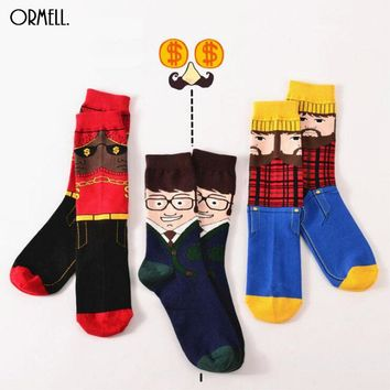 2016 Fashion Cartoon Socks Winter Office Uncle Robber Funny Sock Cotton Casual Business Socks Christmas Gift