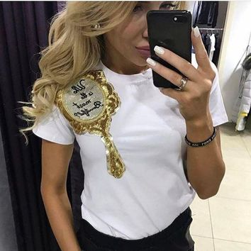 Women's Letter Sequin Short Sleeve T Shirt