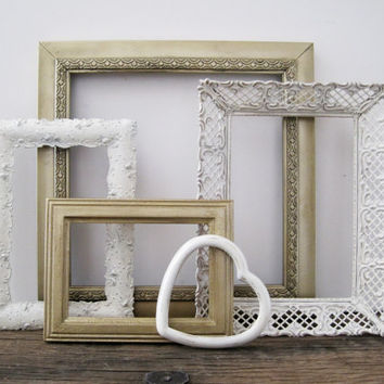 Open Picture Frame Set Of 5 Shabby Chic White and Gold Wall Art