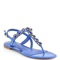 Tory Burch - Mariah Jeweled Patent Leather Thong Sandals