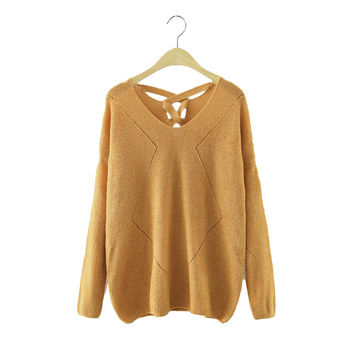 Women V-neck back lace up pullover knitted long sleeve loose sweater vintage 4 colors ladies fashion casual tops SW973