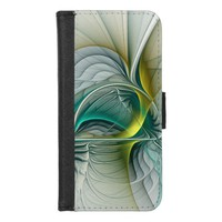 Fractal Evolution, Golden Turquoise Abstract Art iPhone 8/7 Wallet Case