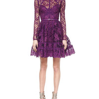 Elie Saab Paneled Lace Cocktail Dress