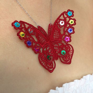 Lace butterfly Lace butterfly necklace Butterfly necklace Sequin jewelry Love gift Women gift Red lace butterfly Beaded butterfly necklace