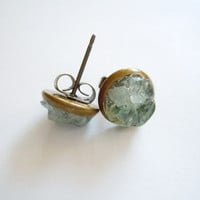 Aquamarine Stud Earrings- Natural Raw Gemstone Cluster