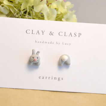 Easter bunny rabbit mismatch head and tail earrings - beautiful handmade polymer clay jewellery by Clay & Clasp