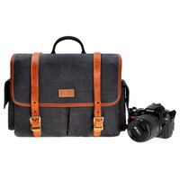 Men's Women's Vintage Retro Genuine Leather and Canvas Camera Bag Messenger Bag for DSLR Camera and Lens