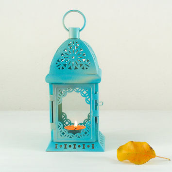 Unique Vintage Scheherazade Exotic Lantern/ Moroccan Decor/ Filigree Turquoise Metal Candle Holder/ Wedding Dorm Decor
