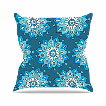 "Sarah Oelerich ""Blue Flower Burst"" Aqua Throw Pillow"