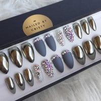 Chrome Press On Nails | Matte & Swarovski Crystal Accent Nails | Any Shape and Size | Silver Chrome Fake False Glue On Nails