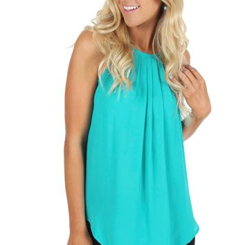 Long Pleat Tank Teal