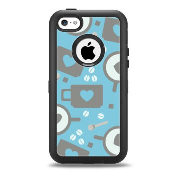 The Vector Blue & Gray Coffee Hearts Pattern Apple iPhone 5c Otterbox Defender Case Skin Set