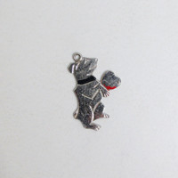 Vintage Charm: Sterling Dog with Heart, Puppy Love