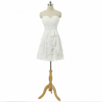 White chiffon short Bridesmaid Wedding Party Dress