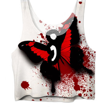 semi colon project red butterfly crop top
