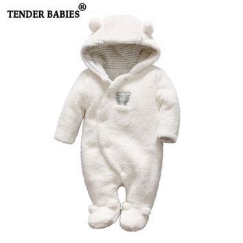 Tender Babies Newborn baby clothes bear Onesuit baby girl boy rompers hooded plush jumpsuit winter overalls for kids roupa menina